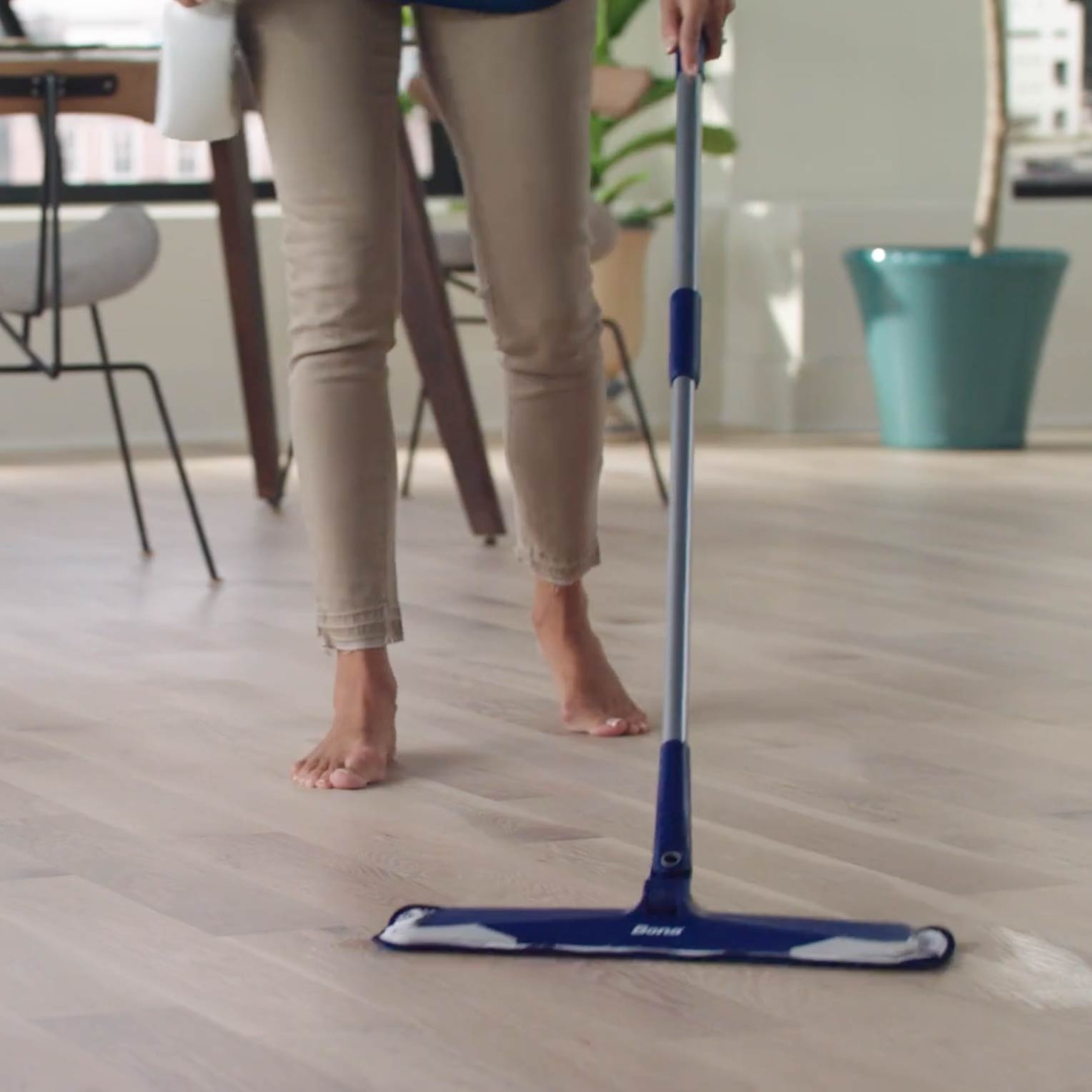 <p><strong>A microfiber mop paired with a natural hardwood floor cleaner is enough to care for wood floors.</strong> Using a mop with a machine washable, microfiber pad for dusting and cleaning is great way to save money. The electrostatic action of a microfiber pad attracts dirt, particles and common household allergens.</p><br/>
